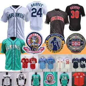 1995 1997 Coopers-ciudad de béisbol Ken Griffey Jr Jr. Jersey 2016 Salón de la fama mancha roja tela a rayas del trullo Verde Blanco Gris Pullover Todo cosido