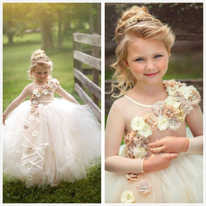 Cute 3D Floral Beaded Girls Pageant Dresses Children Birthday Holiday High-Low Party Dresses Princess Flower Girl Dresses
