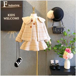 2020 New Hot Sale Cute Girls Clothing Sets Autumn Winter Kids Woolen Coats+Dress 2pcs Set High Quality Girl Suit Children Outfits 2-9Years