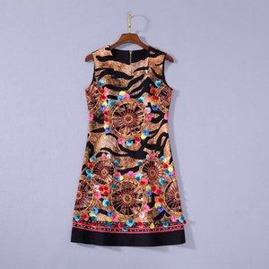 2020 Verano de lujo más nuevo sin mangas de cuello redondo de algodón con estampado de leopardo con cuentas Mini vestido corto de pista vestidos JL082327