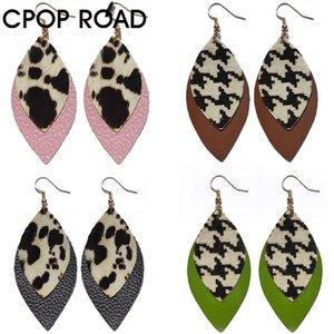 Rindleder-echte Leder-Ohrringe für Frauen Haar auf Kuh-Muster-Mode-Schmuck doppelte Schichten Kuh Houndstooth Ohrring Versorgung Hersteller