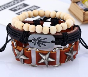 2020 Hot sale Men's genuine leather bracelet DIY PU Alloy maple leaf Five stars beads Bracelet Combination suit Bracelet 3styles 1set