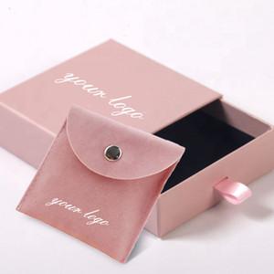 kutusu Kılıfı Yerleşik Kart Ekran Packaging Özel Logo Poşet Bijoux Flap Kadife Kadife İpli Süet Takı çantası