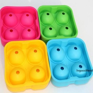 4 Hole Ice Cube Ball Drinking Wine Tray Round Maker Mold Sphere Mould Party Bar Silicone Ice Hockey Maker Bar Accessories KKA7746