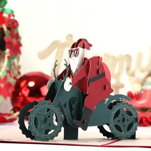 Find Similar New 3D Pop Up Merry Chirstmas Greeting Card Christmas Santa Claus motorcycle Gift Card Free shipping