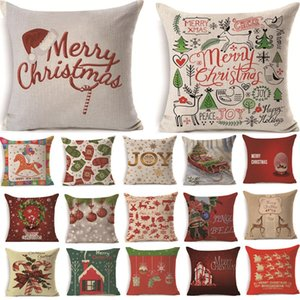 2Pcs 43*43cm Christmas Deer Gifts Pattern Cotton Linen Throw Pillow Cushion Cover Car Home Sofa Decorative Pillowcase 40484