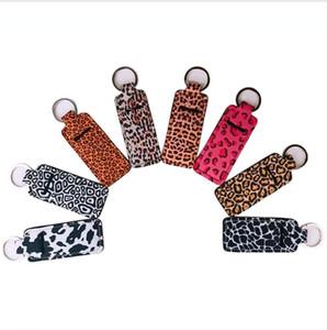 Neoprene Holder Keychain Wristlet Marble Leopard Printed Cover Lipstick Holder Bag Wristband Key Ring Novelty Party Favor Gifts LJJP244