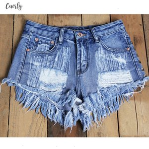 Womens Fashion Brand Vintage Tassel Rivet Ripped High Waisted Short Jeans Punk Sexy Hot Woman Denim Shorts