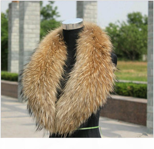 H Women &#039 ;S Or Men &#039 ;S Fur Scarves With 100 %Real Raccoon Fur Collar For Down Coat Nature Color Varies Size From Length 75 -1