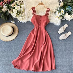 ZQLZ verano mujeres se visten de 2020 nuevo partido rosa casual Vestidos Mujer delgada del tirante de espagueti de Balck Boho Vestidos elegante vestido