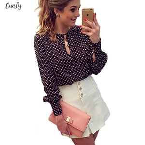 2020 New Arrival Women Tops Casual O Neck Long Sleeves Blouses Spring Summer Chiffon Polka Dots Shirt