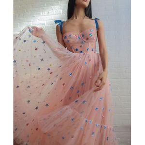 달콤한 핑크 스타 메쉬 드레스 여자 2020 새로운 여름 스파게티 스트랩 활주로 디자인 Vestido 캐주얼 드레스 파티 여성