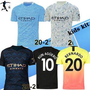 BOYUT S-4XL 20 21 Manchester İSA DE BRUYNE Kun Agüero futbol forması 2020 2021 ŞEHİR SANE Mahrez üçüncü çocuk kiti futbol formaları gömlek