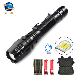 Hellste LED Tactical Taschenlampen 2000LM Super Bright Wiederaufladbare T6 Zoomable 5 Modi LED-Taschenlampe, Camping, Notfall