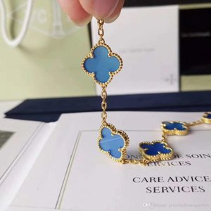 S925 pure silver bracelet with flowers shape and blue agate rhombus clasp for women and mother jewelry gift Vintage style PS7263