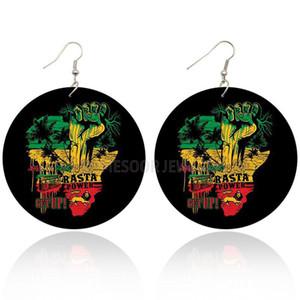خشبي قطرة مطبوعة الراستا قوة القبضة أفريقيا أقراط الأسود انهض الأفرو الخشب الهيب هوب مجوهرات للحصول على هدايا عيد الميلاد النساء