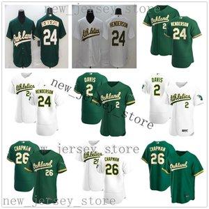 2020 nuovo baseball 24 Rickey Henderson Jersey ricamati 26 Matt Chapman 2 Khris Davis maglie Best Man di qualità Donne gioventù bambini Verde Bianco