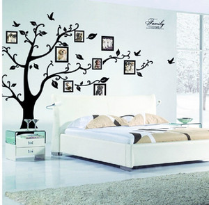 Large 180*250cm Black 3D DIY Photo Frame Tree PVC Wall Decals Adhesive Family Wall Stickers Mural Ar