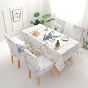 Christmas Deer Waterproof Tablecloth Wholesale Table Cloth Wedding Party Home Hotel Decoration Table Chair Covers Set T200707