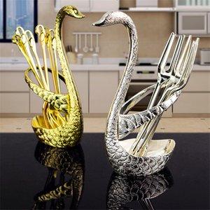 Swan Dinnerware spoon sets 6 spoon + 1 holder wedding party fruit tableware set dinnerware sets 7pcs set