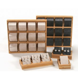 Free Shipping New Solid Wood Earrings Display Tray Microfiber Ear Stud Jewelry Display Exhibition Storage Stand Holder