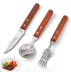 Louça de aço inoxidável Fork Faca Colher Ocidental Food Faqueiro punho de madeira talheres Steak Ocidental faca forquilha Colher Ferramenta LSK329