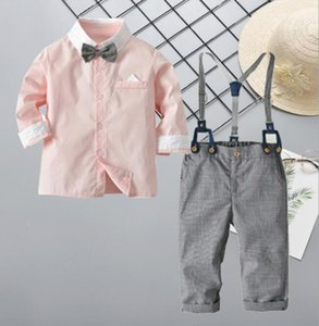 Cross border boys' long sleeve color contrast shirt and trousers gentleman's suit baby boy gentleman's out wear Festival Dress Size 80-110 y