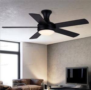 retro wooden black ceiling short base fan with remote control lamp lights bedroom decor wood 5 blades retro ventilator lamps LLFA