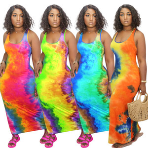 S-5XL Designer Women Long Dress Tie dye Sleeveless Casual Ladies Long Skirt Sexy U-neck Big Swing Fashion Printed Sleeveless Dress
