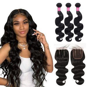 Human Hair 3 Bundles Brazilian Body Wave with Frontal Closure 13x4 Ear To Ear Lace Frontal Closure with Bundles