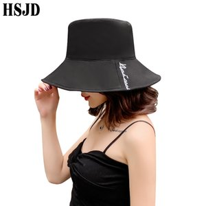 Fashion Female Panama Flat Top Bucket Hat Summer Women Sun Hats Wide Brim Anti-UV Beach Foldable Letter Fisherman Outdoor Caps