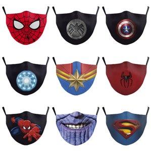 Máscara facial reutilizable Marvel 3D Pintura Spider Man Superman Cara máscara de la máscara protectora reutilizable PM2.5 filtro lavable hombre cara de la mujer
