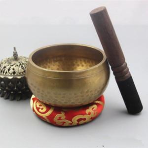 Nepal Handmade Buddhismus Tibet Bowl Bowl Ritual Musiktherapie Kupfer Chime Kupfer tibetanische Klangschale 7 Größen 8-17.5cm