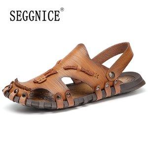 SEGGNICE Herren Sandalen aus Leder Sommer-Strand-Hausschuhe männlich Non-Slip weiche bequeme Outdoor-Schuhe Mann Mode Sandalen Plus Size