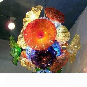 Creative Flower Chandelier Light Italy Style Murano Glass Plates Pendant Lamps Multi-Color LED Blown Glass Chandelier Lighting