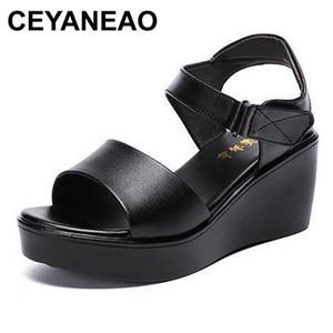 CEYANEAO 2020 donne di estate zeppa 6cm tacco medio comodi sandali nero bianco rosso