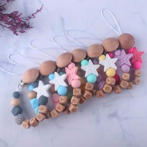 2020 new Baby Clip Chain Holder Wood Beaded Pacifier Soother Holder Clip Nipple Teether Dummy Strap Chain Infant Feeding B324