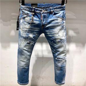 46.2020 high-quality men's jeans, distressed jeans, rock skinny, slim, holed stripes, fashion embroidered denim pants