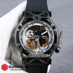 Nouveau automatique Mens Watch PVD Tous Cadran Noir Argent Noir Grand Tourbillon P485 Sports Car Techframe Quick Release caoutchouc SwissTime HUBG21b2