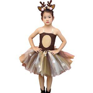 Brown Deer Tutu Dress Halloween Costume for Girls Kids Birthday Party Dress Children Cosplay Animal Sika Deer Dress Up Clothes T200709