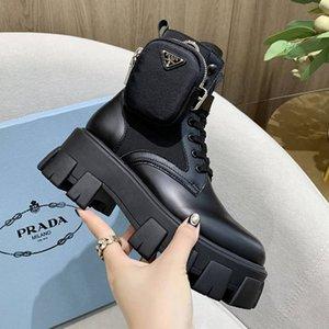 2020 Luxury Designer Womens Lace Up Boots corti, in pelle Womens suola spessa Fashion Boots romano stivali con dimensioni sacchetto della chiusura lampo 35-40 0008
