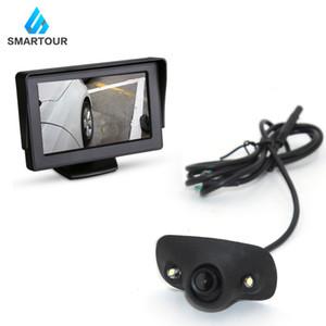 Smartour HD su geçirmez Park Monitörler Sistem 2 LED Gece Görüş Araç Geri Görüş Kamerası 4.3 inç Dikiz Aynası Ön / Yan / Lef