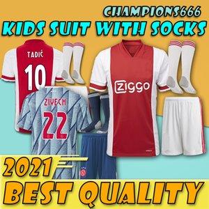 Son ürünlerin !!!!! çocuklar 20 21 Ajax FC Futbol Jersey ZIYECH TADIC Huntelaar Dolberg Schone erkekler gençlik Formalar Futbol Gömlek kiti