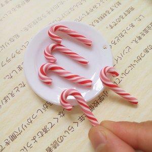 Hot Sale 50Pcs Red And White Handmade Christmas Candy Cane Kawaii Miniature Food Dollhouse Home Decor