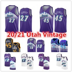 Donovan 45 Mitchell Jersey Mike Conley 10 UtahCittà John Stockton 12 Rudy Gobert 27 Karl Malone 32 Jazz2020 pullover di pallacanestro