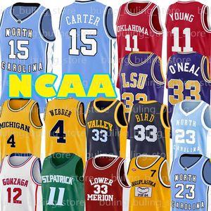 NCAA Russell Westbrook 0 Larry 33 Pássaro Jerseys João 12 Stockton Chris 4 Webber UCLA Trae Robinson Jovem Allen North Carolina Lower Merion