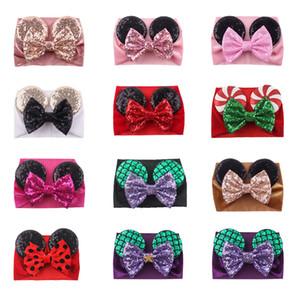 Bebek Kadife Saç Kemer Katı Renk Firkete Bebek Pullu Glitter Big Bow Klipler Fare Kulağı Geniş Butik Kafa Kız Bebek Saç Aksesuarları