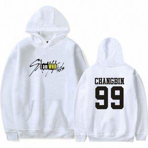 Nombre para hombre de Kpop Straykids sudaderas unisex informal suéter de Stray Niños miembro Impreso de manga larga con capucha mujeres camiseta OuvC #