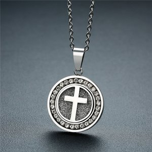 ZORCVENS Gold Color Stainless Steel Cross Crucifix Crystal Pendant Necklace for Men Women Prayer Jesus Necklace Jewelry