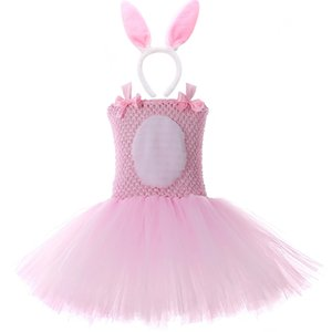 Pink Bunny Rabbit Tutu Dress with Headband Tail Girls Birthday Outfits Kids Easter Halloween Costumes for Girls Party Clothes T200709
